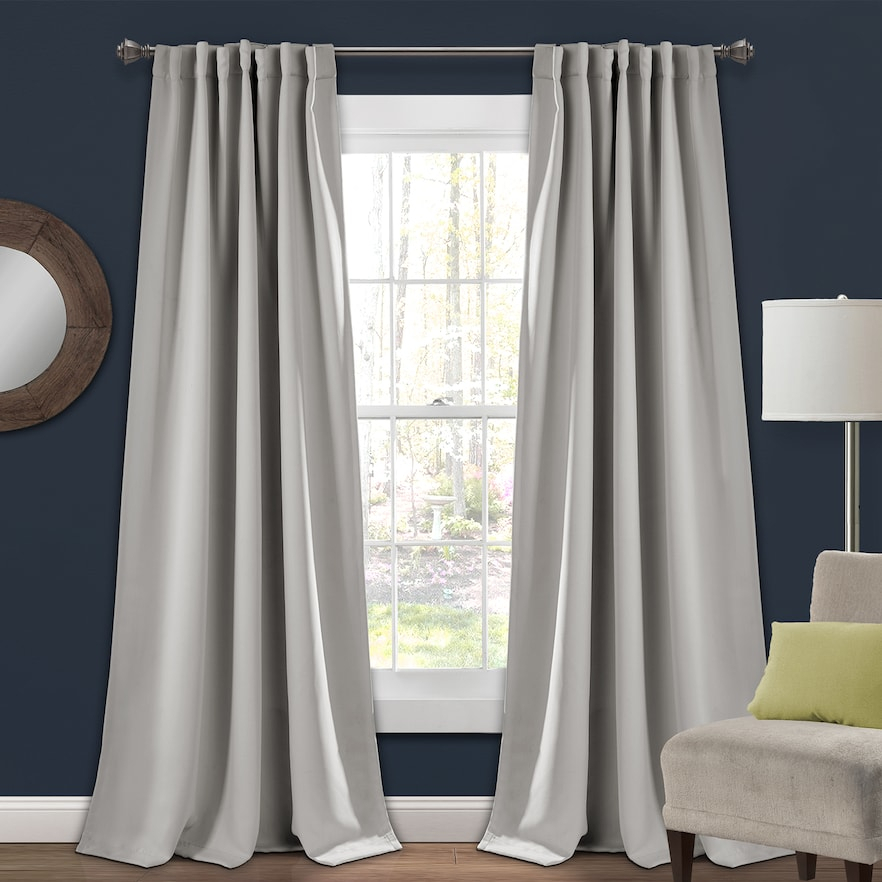 Lush Decor 2 Pack Insulated Blackout Window Curtains, Grey With Regard To Elrene Mia Jacquard Blackout Curtain Panels (View 29 of 37)