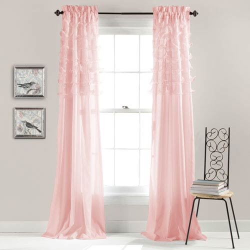 Lush Decor Avery Pink 84 X 54 Inch Window Curtain Panel Pair Within Lydia Ruffle Window Curtain Panel Pairs (View 33 of 43)