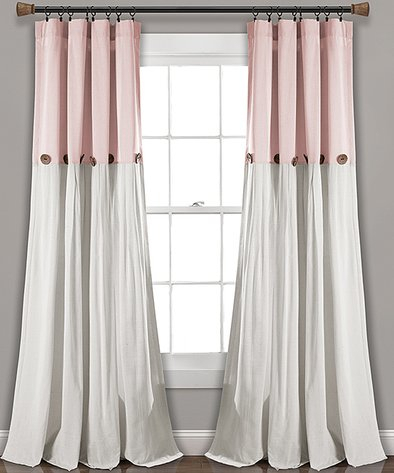 Lush Décor Blush & White Color Block Button Window Curtain Throughout Caldwell Curtain Panel Pairs (View 6 of 27)