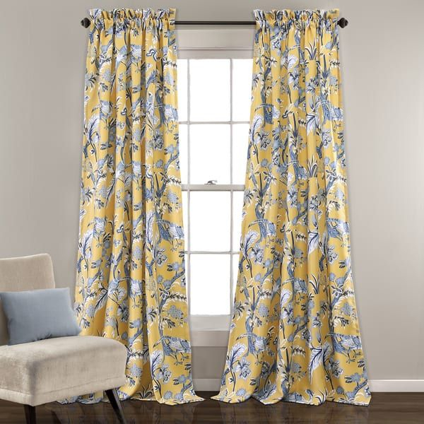 Inspiration about Lush Decor Dolores Blue And Yellow Room Darkening Floral Throughout Floral Pattern Room Darkening Window Curtain Panel Pairs (#4 of 44)