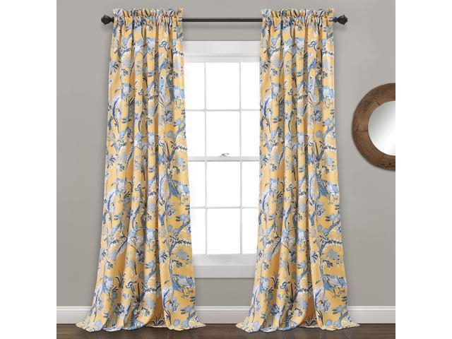 "Lush Decor Dolores Room Darkening Window Curtain Panel Pair, 120"" X 52"" +  2"" Header, Yellow – Newegg Within Dolores Room Darkening Floral Curtain Panel Pairs (View 15 of 35)"