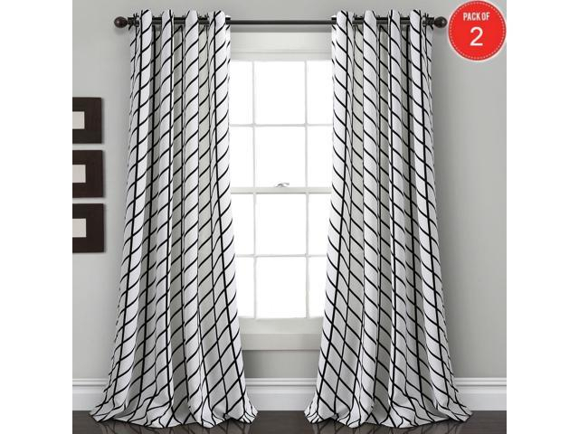 "Inspiration about Lush Decor Feather Arrow Geo Room Darkening Window Curtain Panel Pair, 84""  X 52"", White & Black (Set Of 2) Regarding Weeping Flowers Room Darkening Curtain Panel Pairs (#18 of 50)"