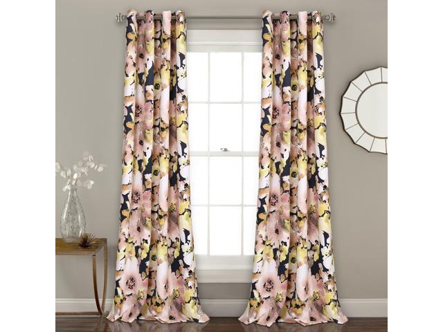 Inspiration about Lush Decor Floral Watercolor Room Darkening Window Curtain Panel Pair, 0,  Navy With Floral Pattern Room Darkening Window Curtain Panel Pairs (#6 of 44)