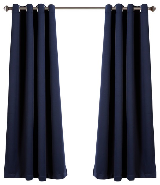 """Lush Decor Insulated Grommet Blackout Curatin, Navy, Pair, 52""""x63"""" With Insulated Grommet Blackout Curtain Panel Pairs (View 36 of 50)"""