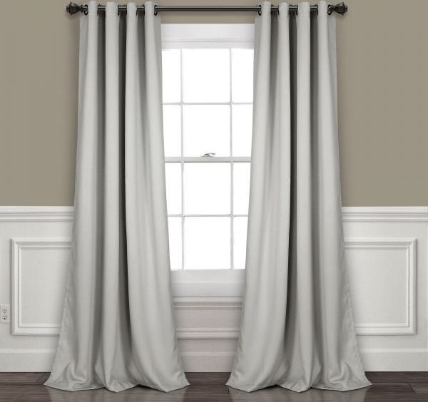 "Lush Decor Insulated Grommet Blackout Window Curtain Panel Pair, 95"" X 52"", Light Gray Price In Saudi Arabia 
