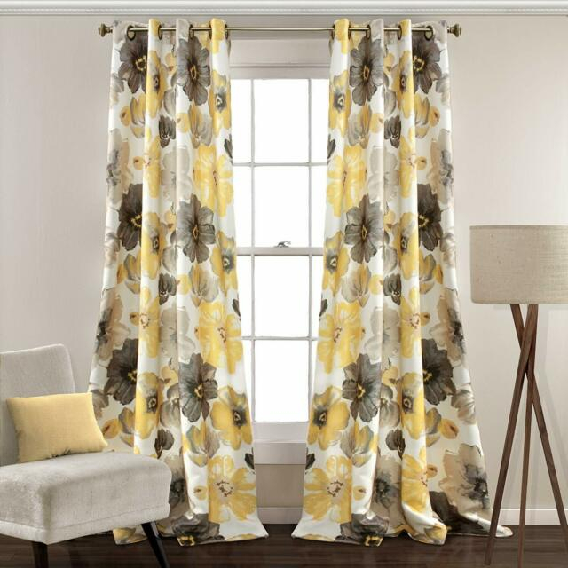 Lush Decor Leah Floral Room Darkening Window Curtains Panel Set Of 2 Inside Julia Striped Room Darkening Window Curtain Panel Pairs (#21 of 37)
