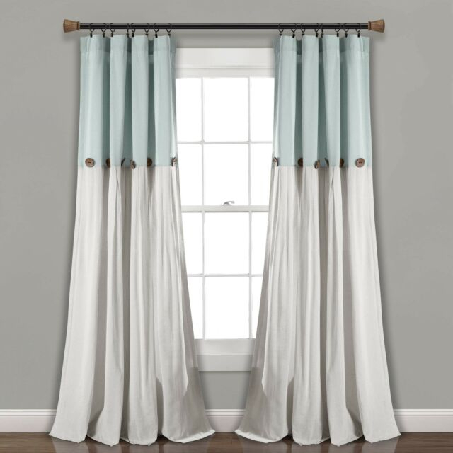 "Lush Decor Linen Button Window Curtain Single Panel, 95"" X 40"", Blue/white New Pertaining To Lydia Ruffle Window Curtain Panel Pairs (View 16 of 43)"