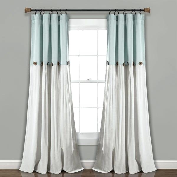 Inspiration about Lush Decor Linen Button Window Curtain Single Panel Color Inside Vertical Colorblock Panama Curtains (#16 of 50)