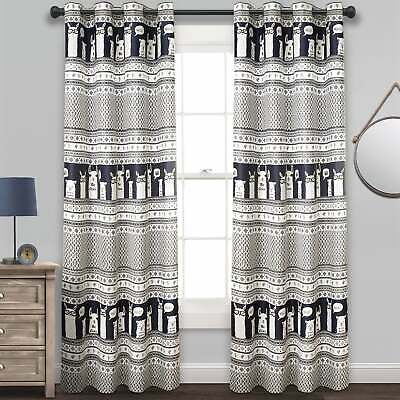 Lush Decor Llama Stripe Room Darkening Window Curtain Panel | Ebay Within Julia Striped Room Darkening Window Curtain Panel Pairs (#22 of 37)