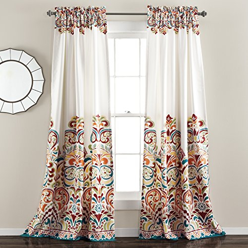 "Lush Decor Lush Décor Clara Room Darkening Window Curtain Panel Pair, 95"" X 52"", Tuquoise/tangerine With Weeping Flowers Room Darkening Curtain Panel Pairs (View 19 of 50)"