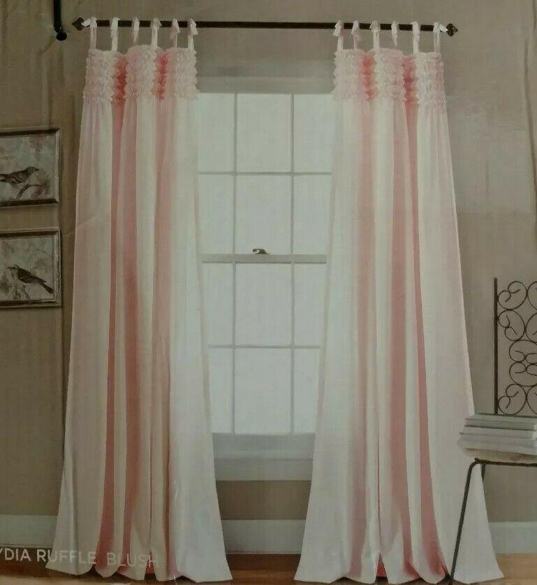 "Lush Decor Lydia Ruffle Window Curtain Panels Pair 84"" X 40"" Blush Pink New | Ebay Throughout Lydia Ruffle Window Curtain Panel Pairs (View 10 of 43)"