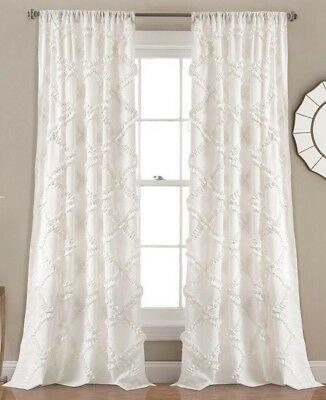 Lush Decor Ruffle Diamond Curtains Textured Window Panel Set Within Ruffle Diamond Curtain Panel Pairs (View 5 of 50)