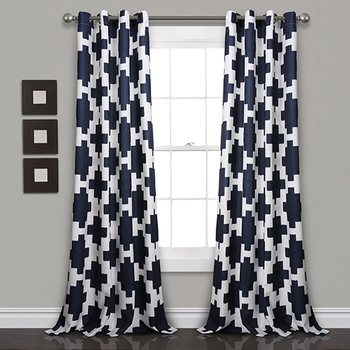 Lush Decor Wellow Ikat Navy 84 X 52 In (View 23 of 50)