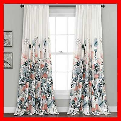 Lush Decor Zuri Flora Curtains Room Darkening Window Panel Set For Living Dining 848742066768 | Ebay Throughout Weeping Flowers Room Darkening Curtain Panel Pairs (View 17 of 50)