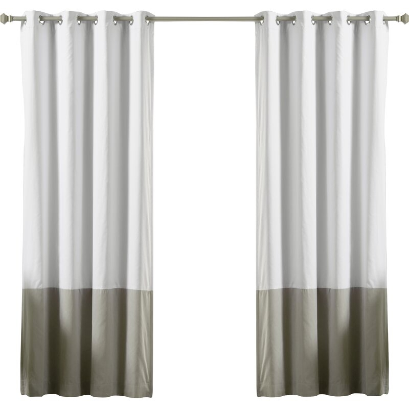 Lutz Color Block Cotton Blend Striped Blackout Thermal Grommet Curtain Panels In Solid Cotton True Blackout Curtain Panels (View 25 of 50)