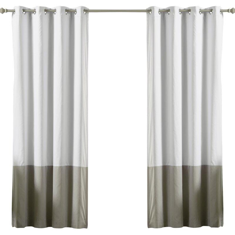 Lutz Color Block Cotton Blend Striped Blackout Thermal Grommet Curtain  Panels In Solid Cotton True Blackout Curtain Panels (#27 of 50)