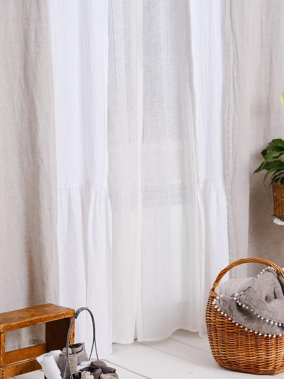 Luxury 100% Linen Farmhouse Ruffle Linen Curtain Panels Set Of 2 Shabby  Chic French Frill Curtains With Regard To Signature French Linen Curtain Panels (#26 of 50)