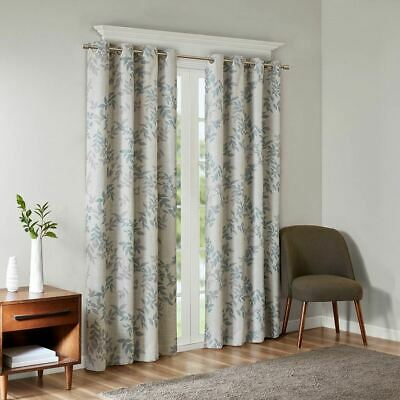 Inspiration about Luxury Aqua Blue & Grey Botanical Floral Blackout Grommet In Tacoma Double Blackout Grommet Curtain Panels (#33 of 48)