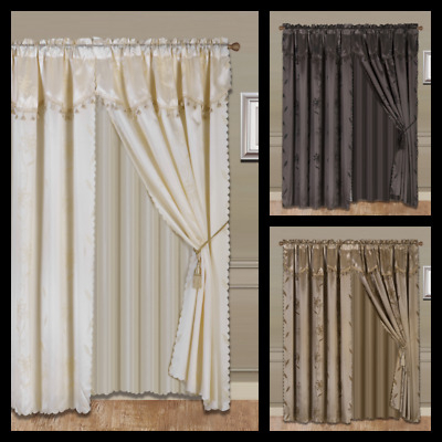 Inspiration about Luxury Jacquard Curtain Panel With Attached Waterfall In Tulle Sheer With Attached Valance And Blackout 4 Piece Curtain Panel Pairs (#43 of 50)