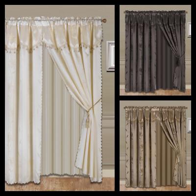Luxury Jacquard Curtain Panel With Attached Waterfall Regarding Elegant Comfort Luxury Penelopie Jacquard Window Curtain Panel Pairs (View 37 of 50)