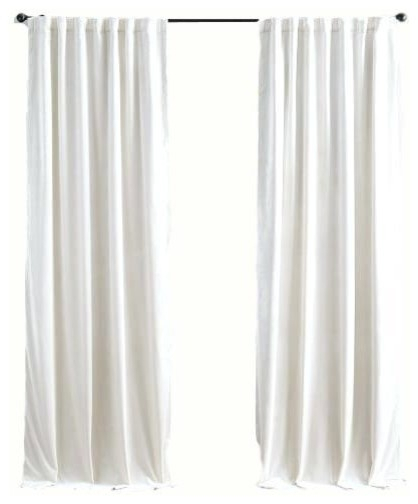 "Inspiration about Luxury Velvet Curtain Panels, White, Set Of 2, Rod Pocket 50""x84"" Throughout Willow Rod Pocket Window Curtain Panels (#38 of 46)"