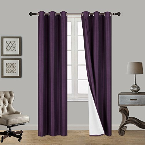 Luxurydiscounts 2 Piece Thick Faux Silk Blackout Insulated Throughout Raw Silk Thermal Insulated Grommet Top Curtain Panel Pairs (#28 of 46)