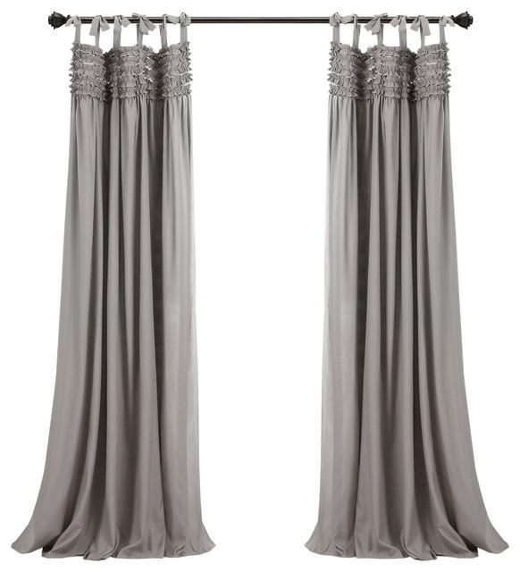 "Lydia Ruffle Curtain Panels, Gray, 40""x84"", Set Of 2 Regarding Lydia Ruffle Window Curtain Panel Pairs (View 3 of 43)"