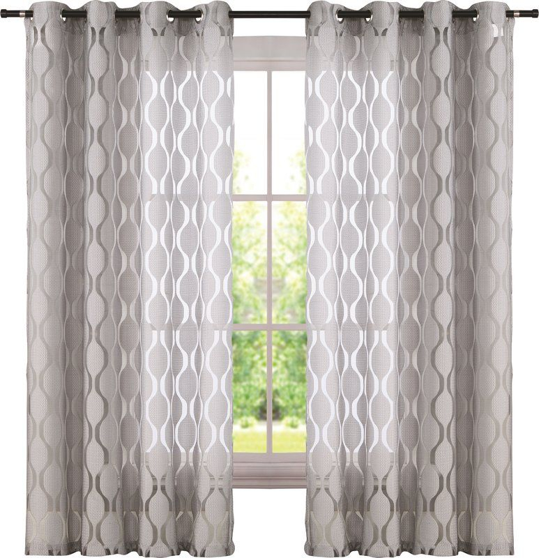 Inspiration about Lynfield Geometric Sheer Grommet Single Curtain Panels In Inside Laya Fretwork Burnout Sheer Curtain Panels (#6 of 38)