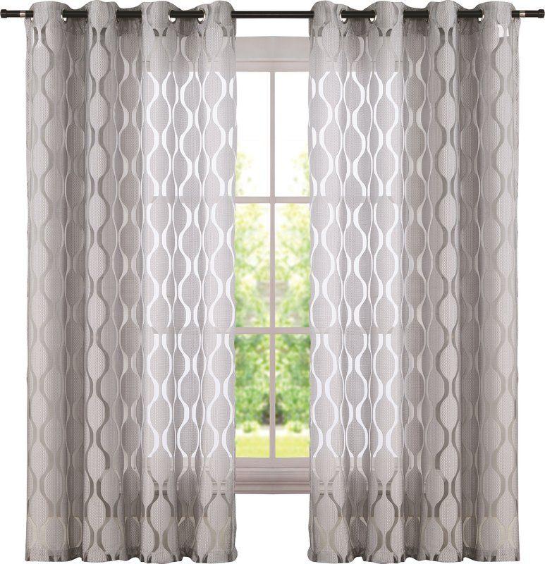 Lynfield Geometric Sheer Grommet Single Curtain Panels In Inside Laya Fretwork Burnout Sheer Curtain Panels (View 6 of 38)