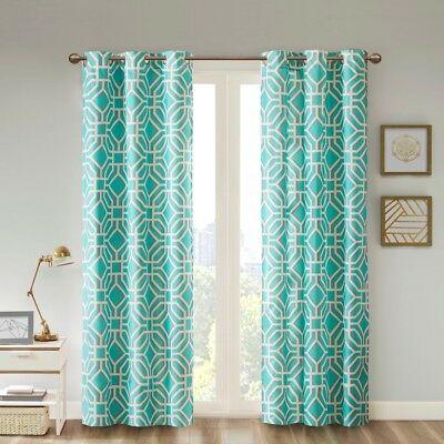 Maci Green White Grey Window Panels : Fretwork Grommet Modern Curtain Drapes | Ebay Regarding Fretwork Print Pattern Single Curtain Panels (View 23 of 46)