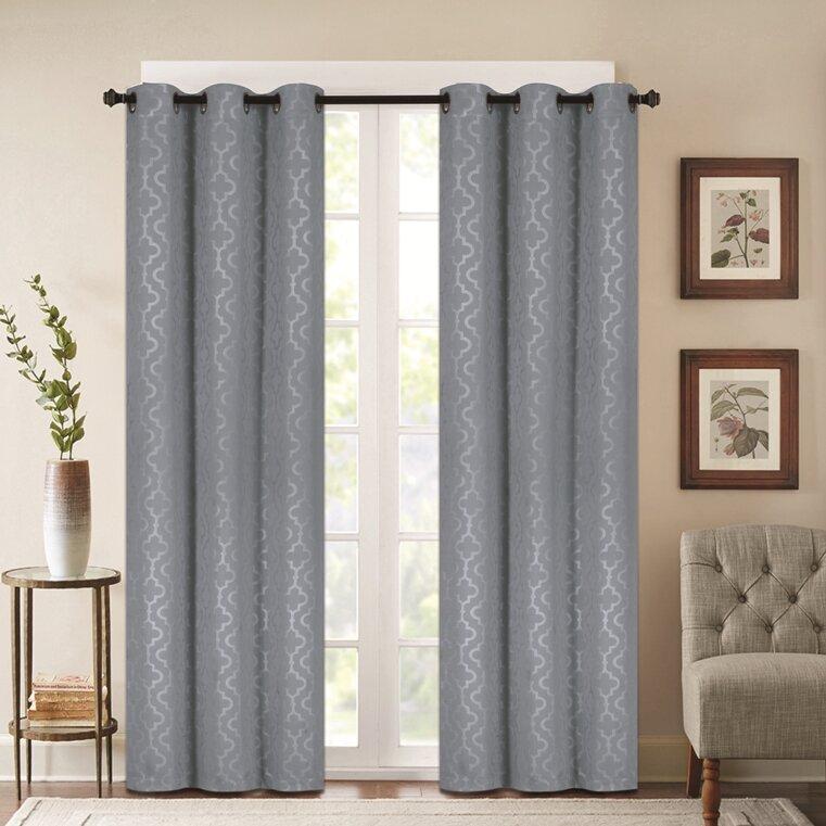 Madison Embossed Geometric Blackout Grommet Curtain Panel Pair Intended For Silvertone Grommet Thermal Insulated Blackout Curtain Panel Pairs (View 8 of 35)