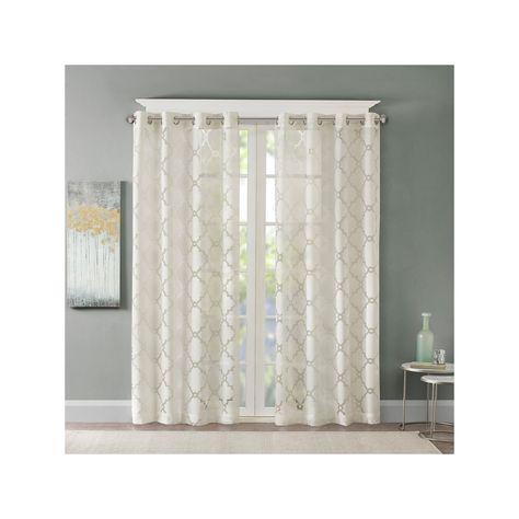 Popular Photo of Laya Fretwork Burnout Sheer Curtain Panels