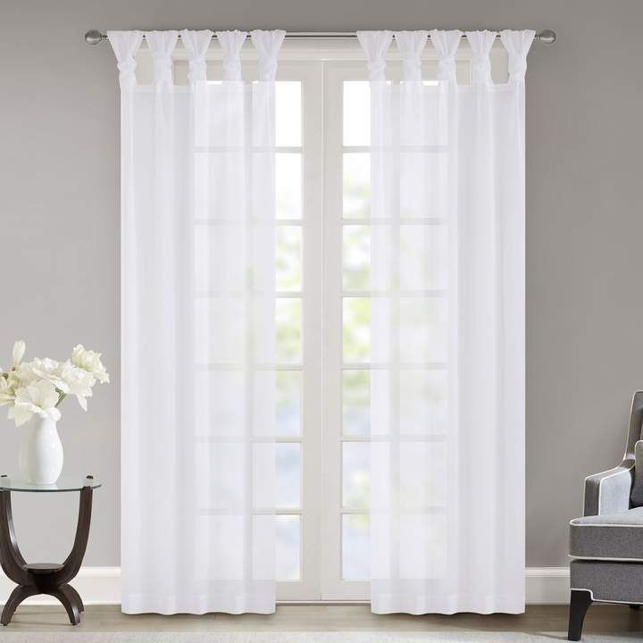 Popular Photo of Elowen White Twist Tab Voile Sheer Curtain Panel Pairs