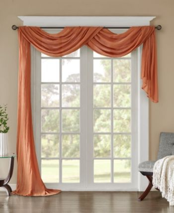 Madison Home Usa Harper 42 X 216 Solid Crushed Sheer Scarf With Regard To Kaylee Solid Crushed Sheer Window Curtain Pairs (#22 of 40)
