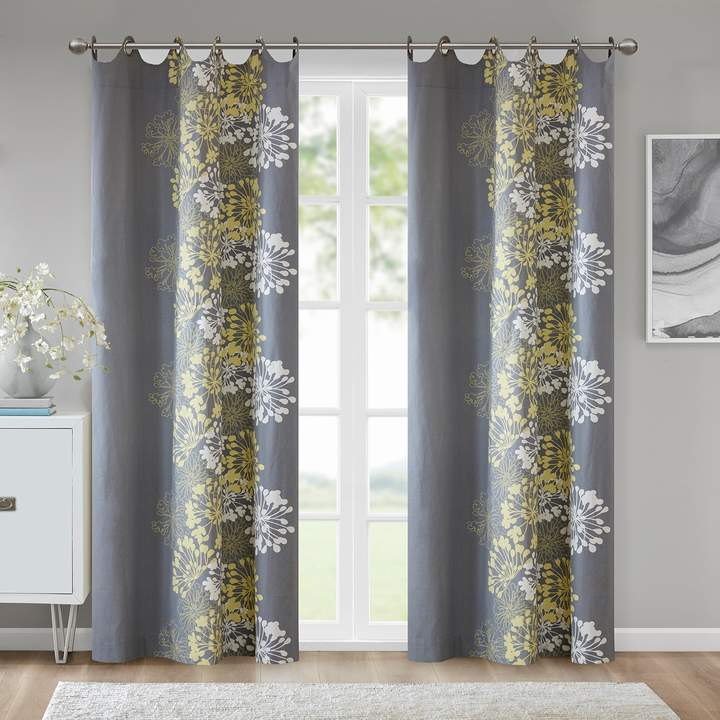 Madison Park 1 Panel Adria Window Curtain For Essentials Almaden Fretwork Printed Grommet Top Curtain Panel Pairs (#20 of 38)