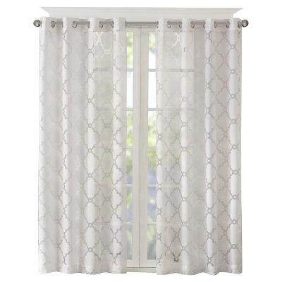 Madison Park Eden Fretwork Burnout Sheer Curtain Panel With Regard To Essentials Almaden Fretwork Printed Grommet Top Curtain Panel Pairs (#22 of 38)