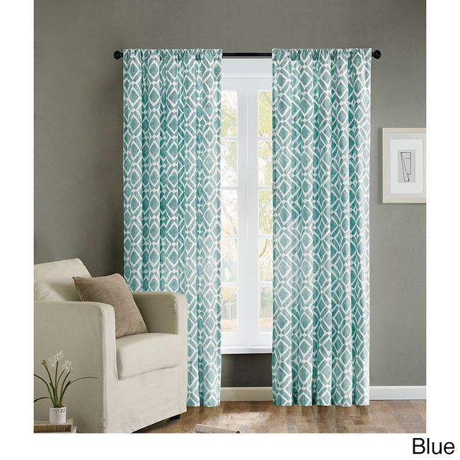Madison Park Ella Curtain Panel (63 Inch Blue), Size 42 X 63 Throughout Ella Window Curtain Panels (View 35 of 50)