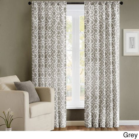 Madison Park Ella Curtain Panel (95 Inch Grey), Size 42 X 95 With Regard To Ella Window Curtain Panels (View 36 of 50)