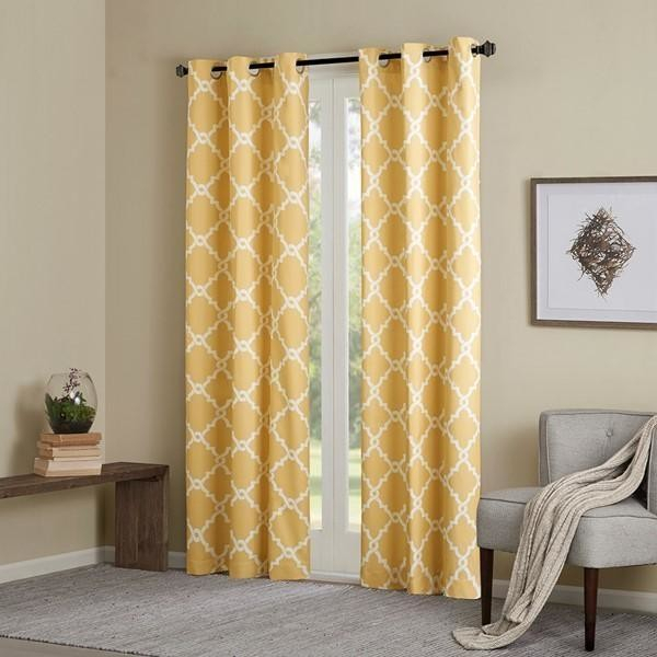 Madison Park Essentials Fretwork Printed Window Panel Pair In Yellow  Mpe40 285 Within Fretwork Print Pattern Single Curtain Panels (View 20 of 46)