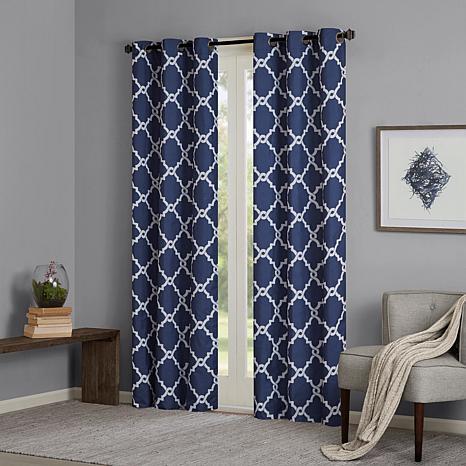 "Madison Park Essentials Merritt Fretwork Panel Curtain Pair – Navy – 42"" X 84"" Within Fretwork Print Pattern Single Curtain Panels (View 10 of 46)"