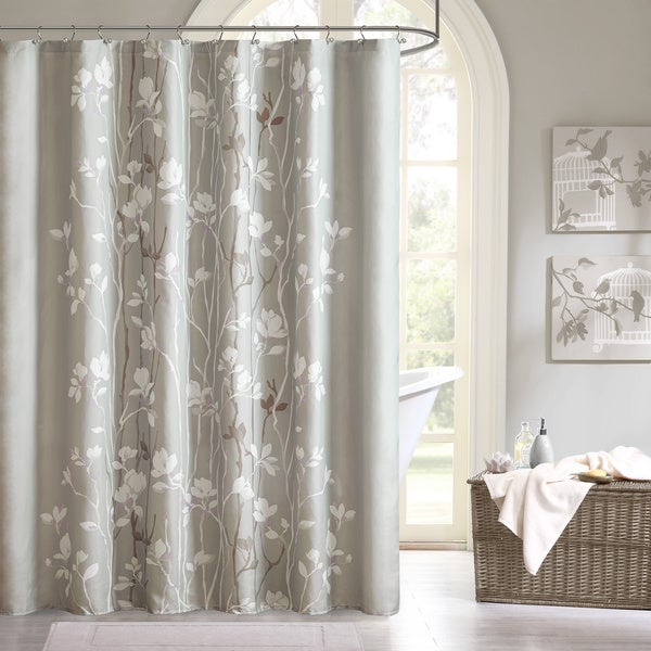 Madison Park Essentials Sonora Printed Shower Curtain Inside Essentials Almaden Fretwork Printed Grommet Top Curtain Panel Pairs (#25 of 38)