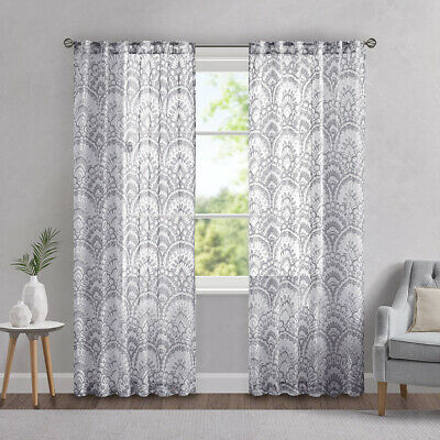 """Madison Park Fretwork 95"""" L X 50"""" W Window Curtain Panel In Intended For Laya Fretwork Burnout Sheer Curtain Panels (#19 of 38)"""