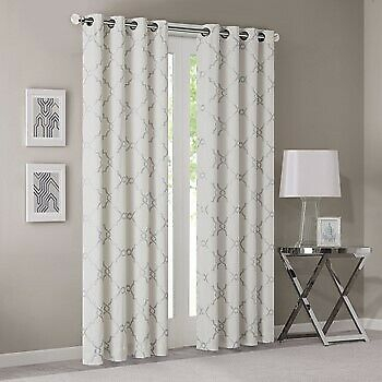 Madison Park Fretwork Print Grommet Top Window Curtain With Ivory Mp40 2398 Within Total Blackout Metallic Print Grommet Top Curtain Panels (View 19 of 50)