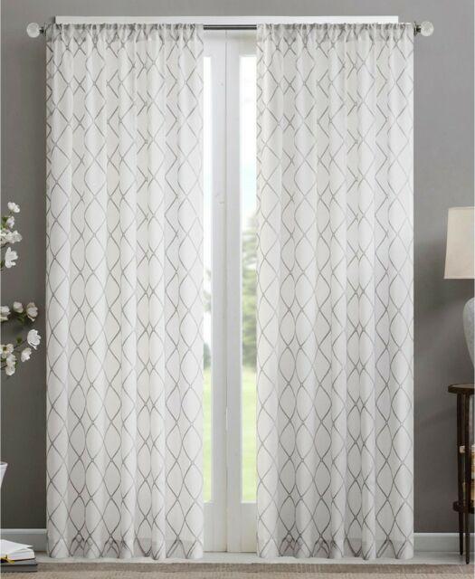 "Madison Park Irina Sheer Rod Pocket Curtain Panel 50"" X 95"" White Gray Within Laya Fretwork Burnout Sheer Curtain Panels (View 14 of 38)"