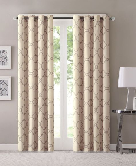 Popular Photo of Essentials Almaden Fretwork Printed Grommet Top Curtain Panel Pairs
