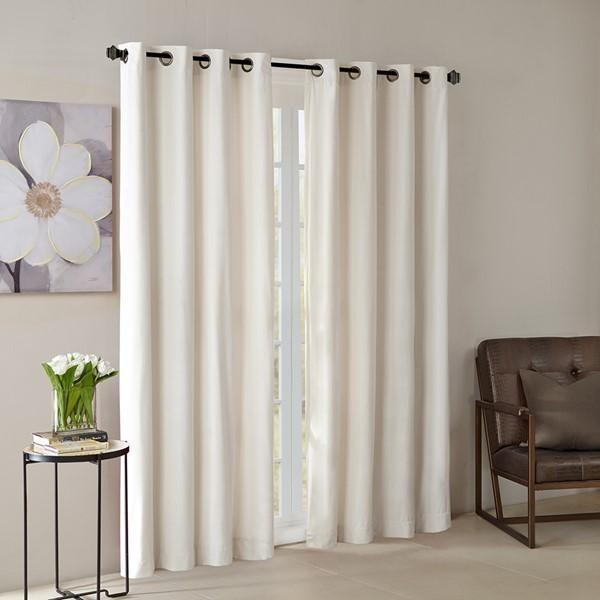 Madison Park Solid Velvet Window Panel In Ivory Finish Mp40 3849 Intended For Heritage Plush Velvet Single Curtain Panels (View 30 of 50)