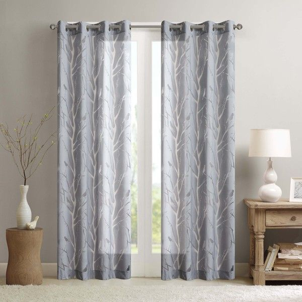 Madison Park Vina Sheer Bird Curtain Panel   Curtains/shades Inside Vina Sheer Bird Single Curtain Panels (#15 of 38)