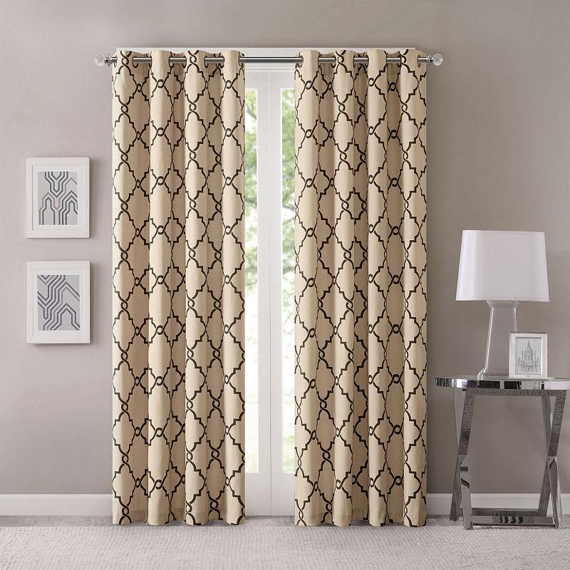 Popular Photo of Fretwork Print Pattern Single Curtain Panels