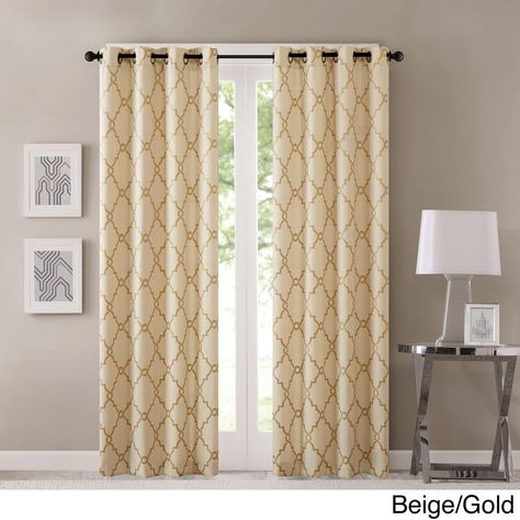 Madison Park Westmont Geometric Pattern Curtain Panel For Laya Fretwork Burnout Sheer Curtain Panels (View 9 of 38)