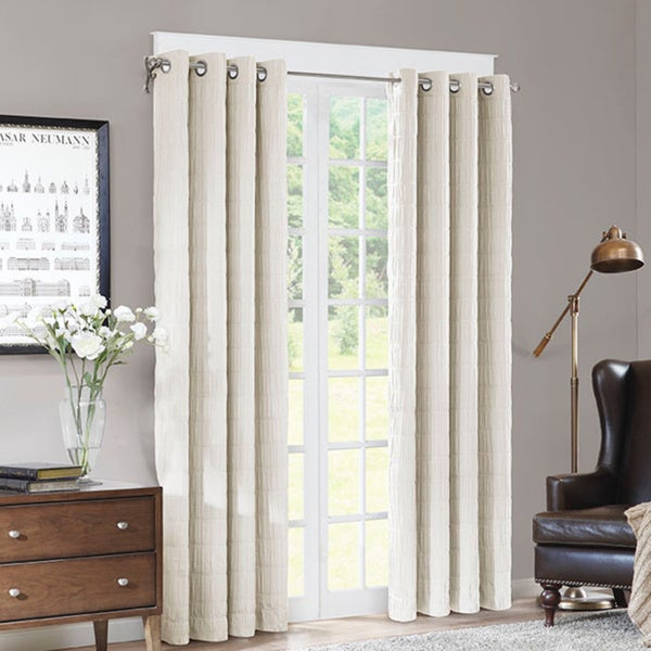 Madison Park Zuni Grommet Textured 84Inch Curtain Panel On With Regard To Chester Polyoni Pintuck Curtain Panels (#19 of 26)